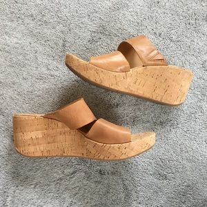 Kork-Ease Leather Cork Tan Wedge Heel